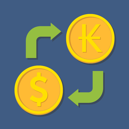 kip: Currency exchange. Dollar and Kip. Vector illustration