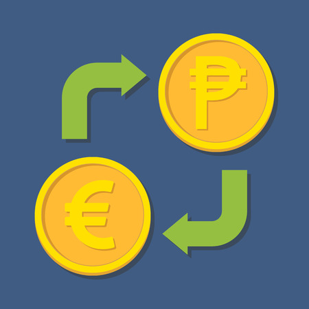 peso: Currency exchange. Euro and Peso. Vector illustration