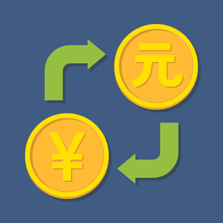 yuan: Currency exchange. Yen and Yuan. Vector illustration Illustration