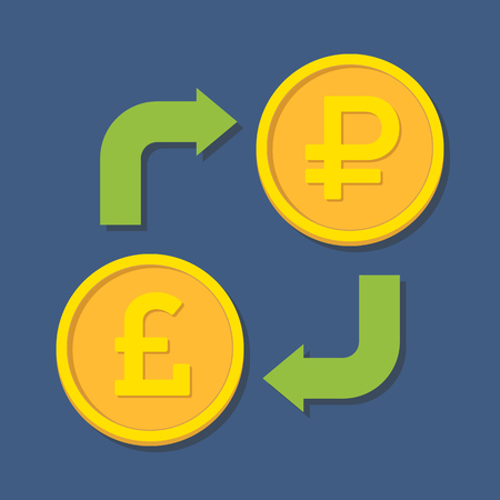 sterling: Currency exchange. Pound Sterling and Ruble. Vector illustration