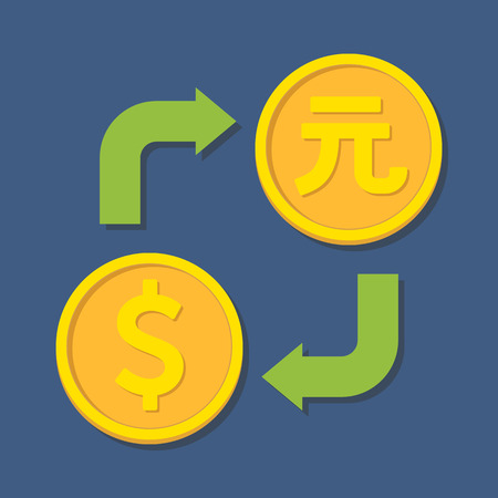 yuan: Currency exchange. Dollar and Yuan. Vector illustration Illustration