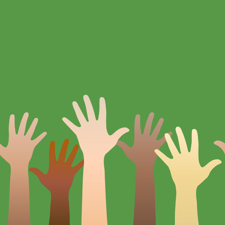 Hands raised up. Concept of volunteerism, multi-ethnicity, equality, racial and social issues. Horizontally seamless. Vector illustration Vector
