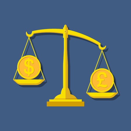 foreign exchange: Scales with Dollar and Pound Sterling symbols. Foreign exchange forex concept. Vector illustration.