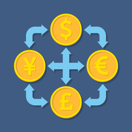converter: Currency exchange concept. Flat design stylish. Isolated on color background Illustration