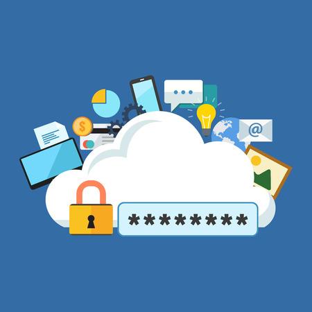 Internet Security concept. Platte ontwerp stijlvol. Geïsoleerd op een achtergrond kleur
