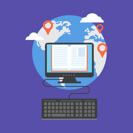 Distance education concept. Flat design stylish. Isolated on color background