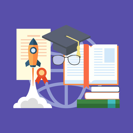 potential: Potential of education concept. Flat design stylish. Isolated on color background