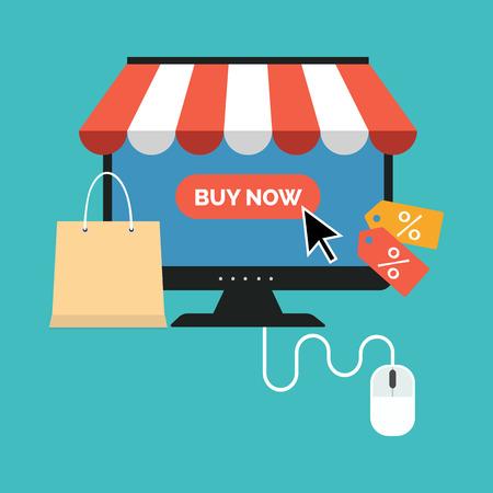 オンライン ショッピングの概念。フラットなデザインのスタイリッシュです。色の背景上に分離されて