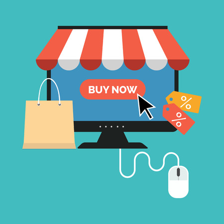 internet store: Online shopping concept. Flat design stylish. Isolated on color background