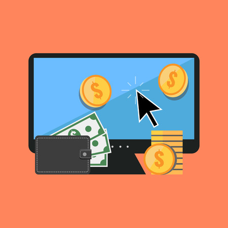 money online: Making money online concept. Flat design stylish. Isolated on color background