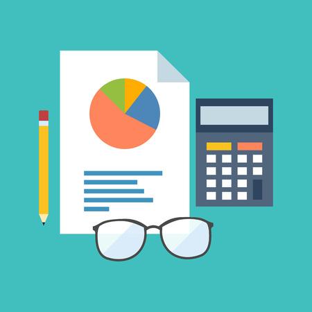 contabilidad financiera cuentas: Concepto de estad�sticas. Dise�o plano con estilo. Aislado en el fondo de color