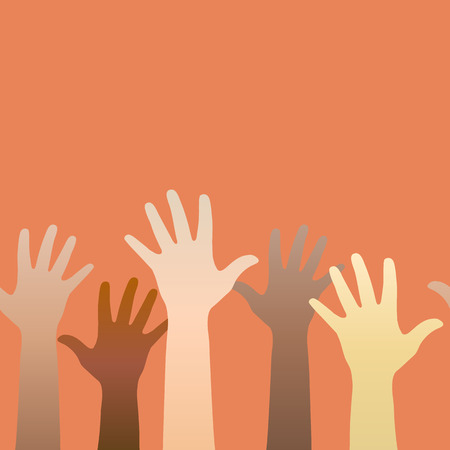 Hands raised up. Concept of volunteerism, multi-ethnicity, equality, racial and social issues. Horizontally seamless. Vector illustration Ilustração