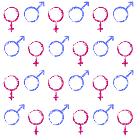 male female symbol: Abstract seamless pattern. Male and female symbols. Vector Illustration