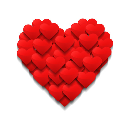 Los pequeños corazones forman un gran corazón. Concepto de día de San Valentín. Ilustración vectorial