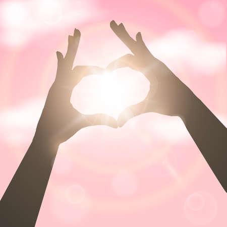 pink sky: Hands in the form of heart over pink sky.. Concept vector illustration Illustration