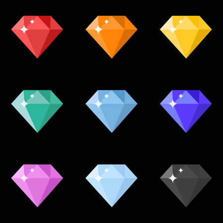 Diamonds icons set in different colors on the black background. Flat design. Vector illustration Illustration