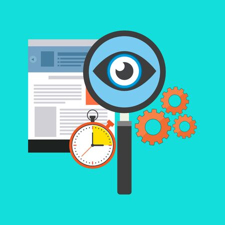 search optimization: Search optimization concept. Flat design. Isolated on color background Illustration