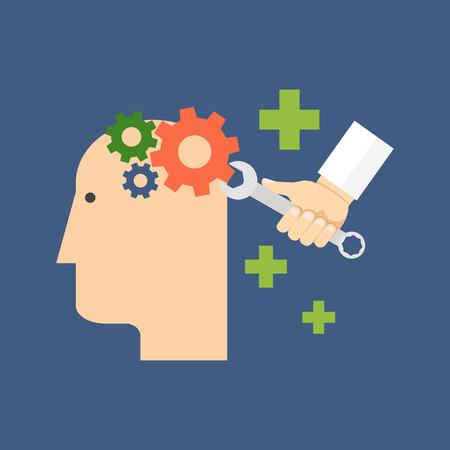 Psychologie, Psychotherapie, psychische Heilung Konzept. Flache Bauweise. Isoliert Farbe