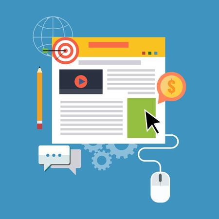 Blog management, bloggen concept. Platte design. Geïsoleerd op een achtergrond kleur
