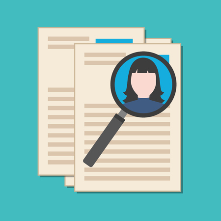 analyzing: Searching professional staff, analyzing resume, recruitment concept. Flat design. Isolated on color background Illustration
