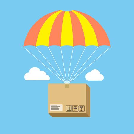 Csomag repülő ejtőernyős, szállítási szolgáltatás fogalmát. Lapos kivitel. Elszigetelt színes háttér
