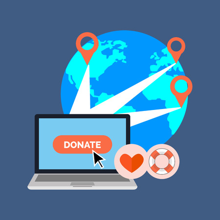 Online charity, donate concept. Flat design. Isolated on color background