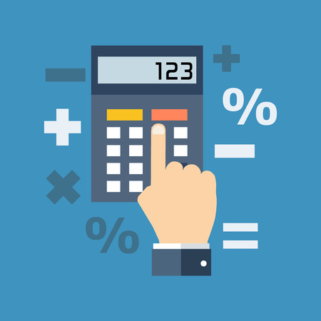Accountant: Calculation, mathematics, accountant concept. Flat design. Isolated on color background Illustration