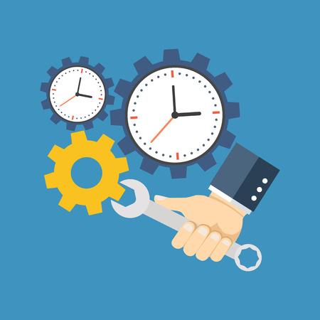 Time management concept. Platte design. Geïsoleerd op een achtergrond kleur