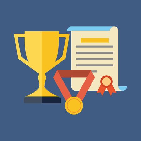 Beloningen, prestaties, awards concept. Platte design. Geïsoleerd op een achtergrond kleur Stockfoto - 38206730