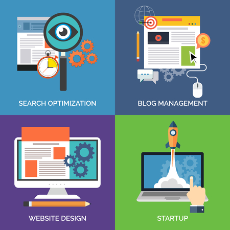 Set of flat design concept icons for business. Search optimization, Blog management, Website design and Startup. Vector Illustration. Vettoriali