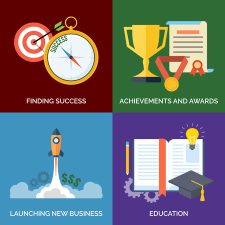 finding: Set of flat design concept icons for business. Finding Success, Achievements and awards, Launching new business and Education. Vector Illustration.
