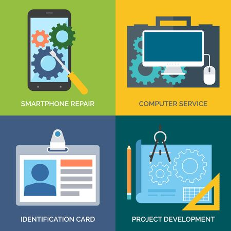 computer repair concept: Set of flat design concept icons for business. Smartphone repair, Computer service, Identification card and Project development. Vector Illustration.