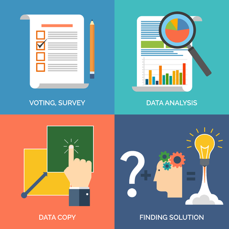 web survey: Set of flat design concept icons for business. Voting, survey, Data analysis, Data copy and Finding solution. Vector Illustration.