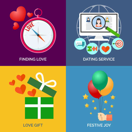 finding love: Set of flat design concept icons. Finding love, Dating service, Love gift and Festive joy. Vector Illustration.