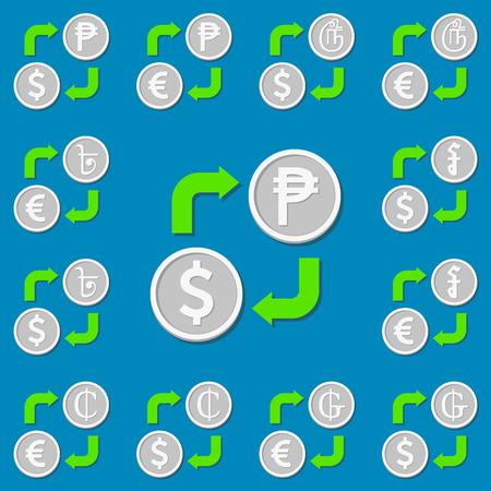 riel: Currency exchange. Set 5. Euro, Dollar, Peso, Guarani, Bengali Rupee, Cedi, Riel and Tamil Rupee. Vector illustration
