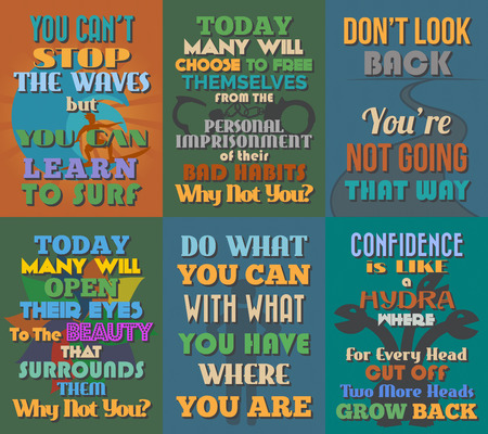 imprisonment: Unusual motivational and inspirational quotes posters. Set 11. Vector illustration