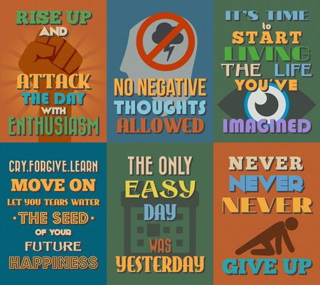 Unusual motivational and inspirational quotes posters. Set 2. Vector illustration