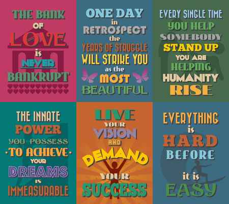 retrospect: Unusual motivational and inspirational quotes posters. Set 3. Vector illustration