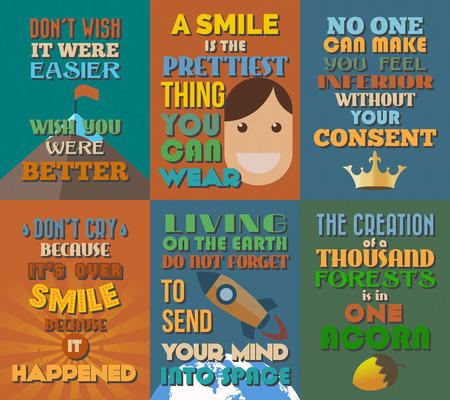 Ongewone motiverende en inspirerende citaten posters. Stel 8. Vector illustratie