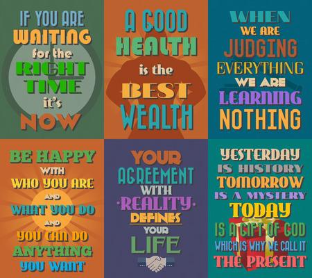 Ongewone motiverende en inspirerende citaten posters. Stel 9. Vector illustratie