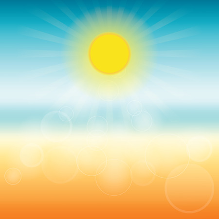 Blurred summer background. Sun shines brightly. Vector illustration.