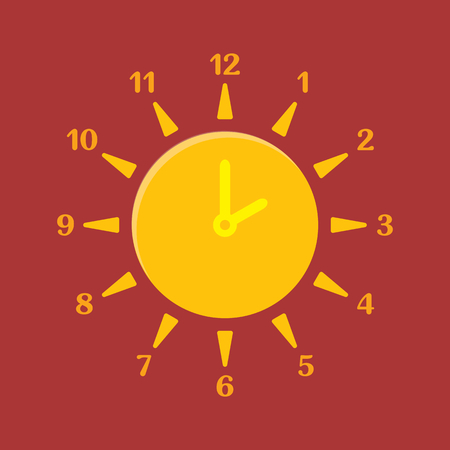 watch: Combined clock and sun. Summer time concept. Vector illustration. Illustration