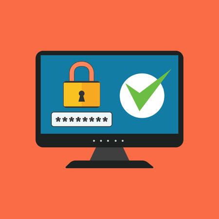 contraseña: Concepto de seguridad informática. Diseño plano. Aislado en el fondo de color