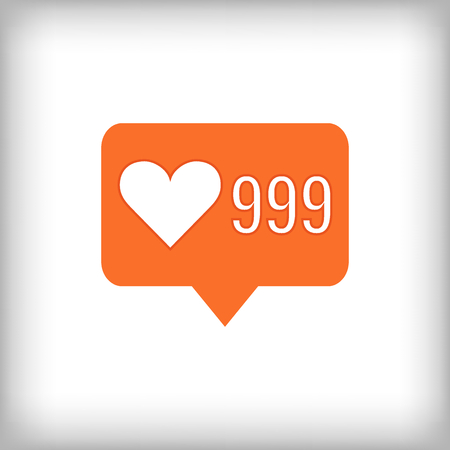 likes: Like orange icon. 999 likes. Vector illustration