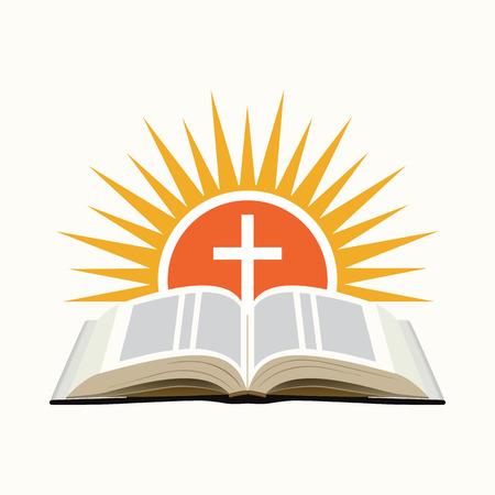 Biblia, la puesta del sol y la cruz. Iglesia icono de concepto. Aislado en el fondo blanco. Ilustración vectorial