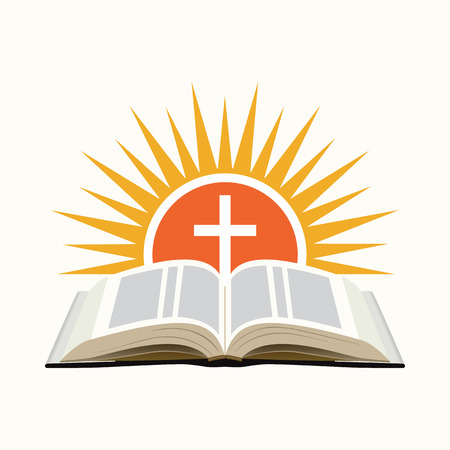 Biblia, zachód słońca i krzyż. Kościół koncepcji ikony. Pojedynczo na białym tle. Ilustracji wektorowych