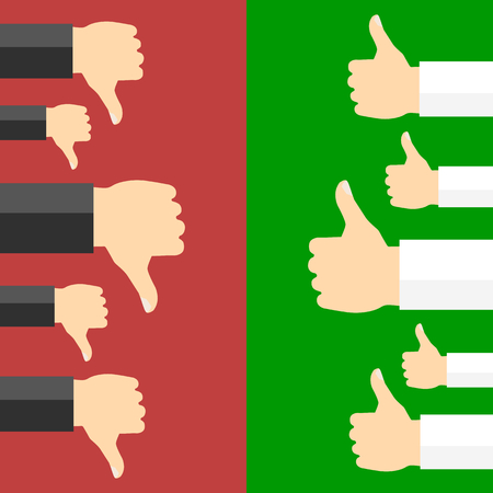 good and bad: Positive and negative feedback concept. Vector illustration