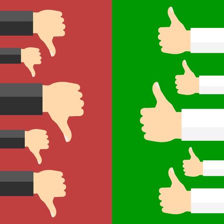 Positive and negative feedback concept. Vector illustration