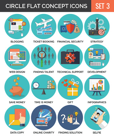 Circle Colorful Concept Icons. Flat Design. Set 3. Business, Finance, Education, Technology, Travel Symbols and Metaphors. Illustration