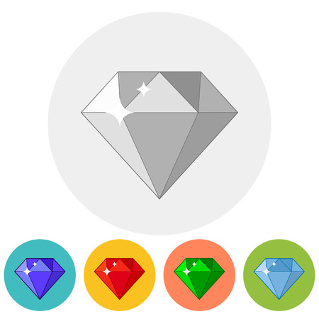 Shining gem icon in different color variations. Vector illustration